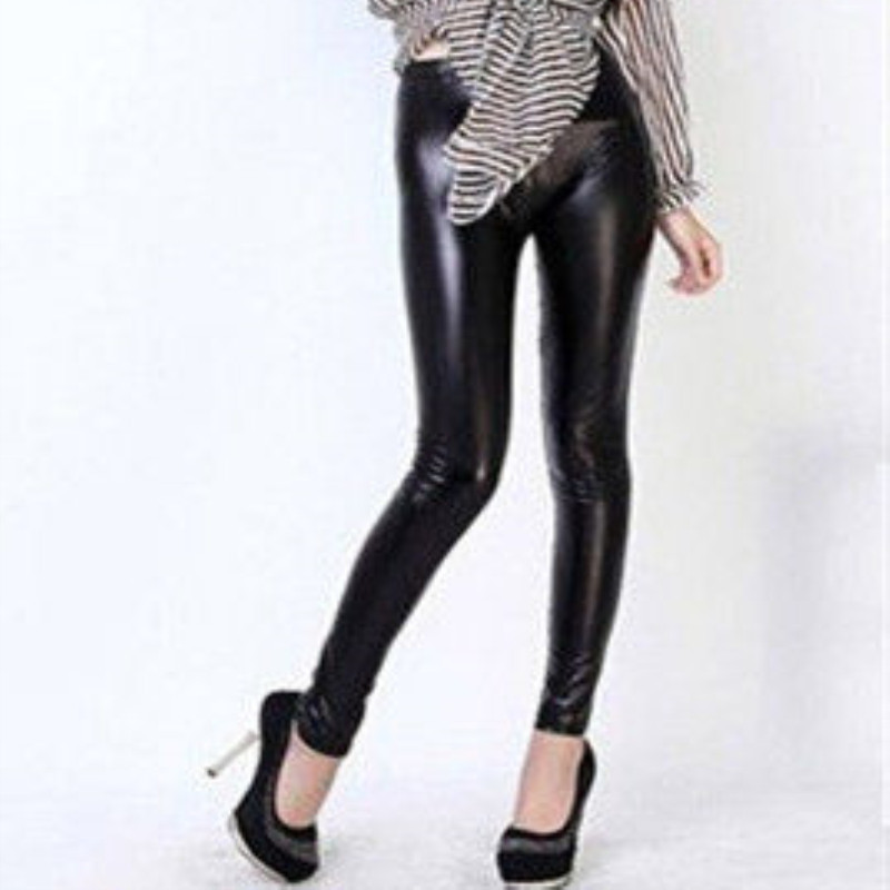 Women Clothing Leggings Faux-Leather Black One-Size Pants Stretch High-Waist Cheap Sheath