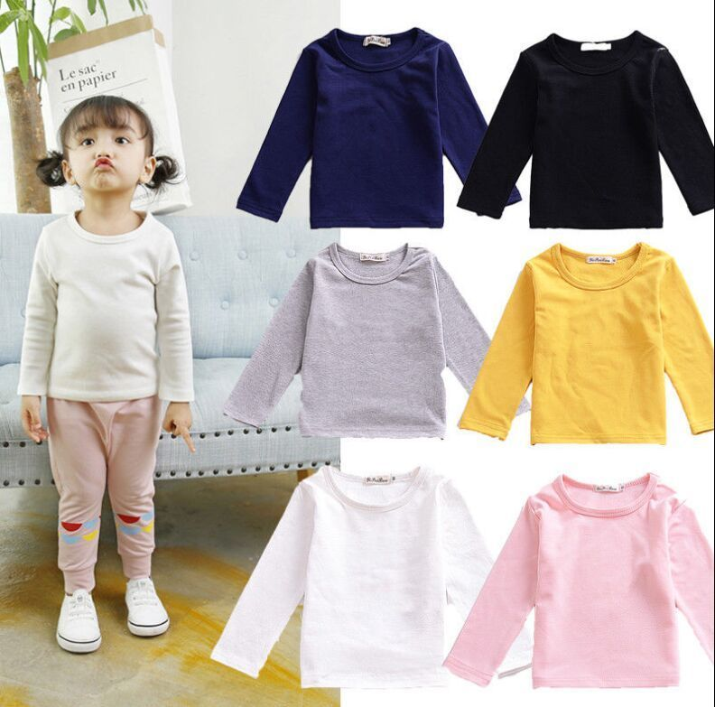 все цены на New Casual Toddler Kids Baby Boys Girls Cotton Long Sleeve T-shirt Solid T-shirt Tops Clothing Kids Outfits 6M to 5T