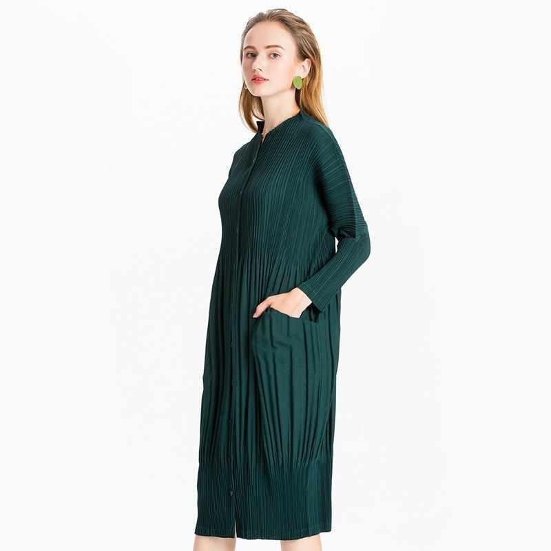 LANMREM 2019 Высококачественная плиссированная одежда для женщин с длинным рукавом эластичные однобортные женские платья с карманами Горячая JL566