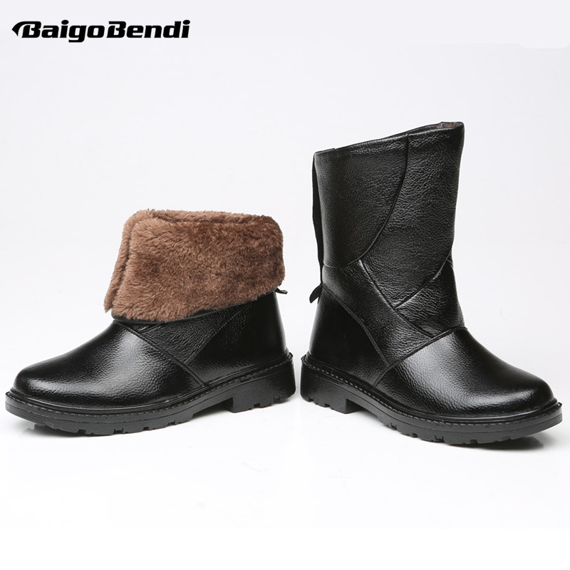 Must Have! Waterproof Snow Boots Men Real Leather Pull On Super Warm Fur Mid-calf Boots Man Winter Outdoor Plush Cotton Shoes image
