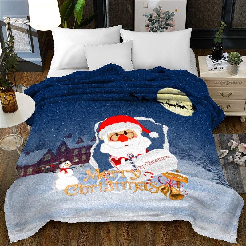 Peluche microfibre doux jeter couverture noël père noël léger confortable couverture de lit chaud couverture polaire pour toutes les saisons