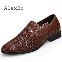 AlexBu New Man Leather Shoes Dress Hollow Out Breathable Men Wedding Shoe Trend Men Casual Oxford Shoes Slip On Spring Summer
