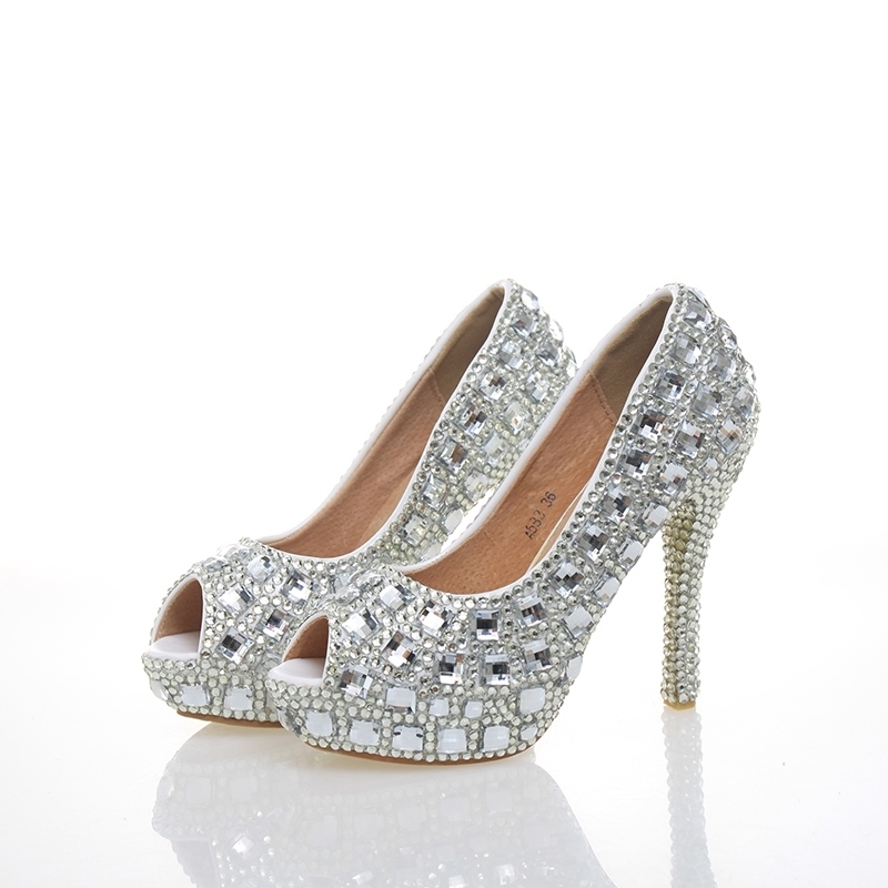 Silver Rhinestone Peep Toe Woman High Heels Wedding Party Prom Bride Shoes Crystal 4 Inches Cinderella Prom Pumps Open Toe aidocrystal plus size 35 43 sexy crystal peep toe wedding shoes rhinestone woman pumps open toe high heels