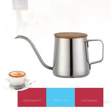 Stainless Steel Long Narrow Spout Coffee Tea Pot Drip Kettle Cup Wood Lid Home Kitchen Pour Over Gooseneck