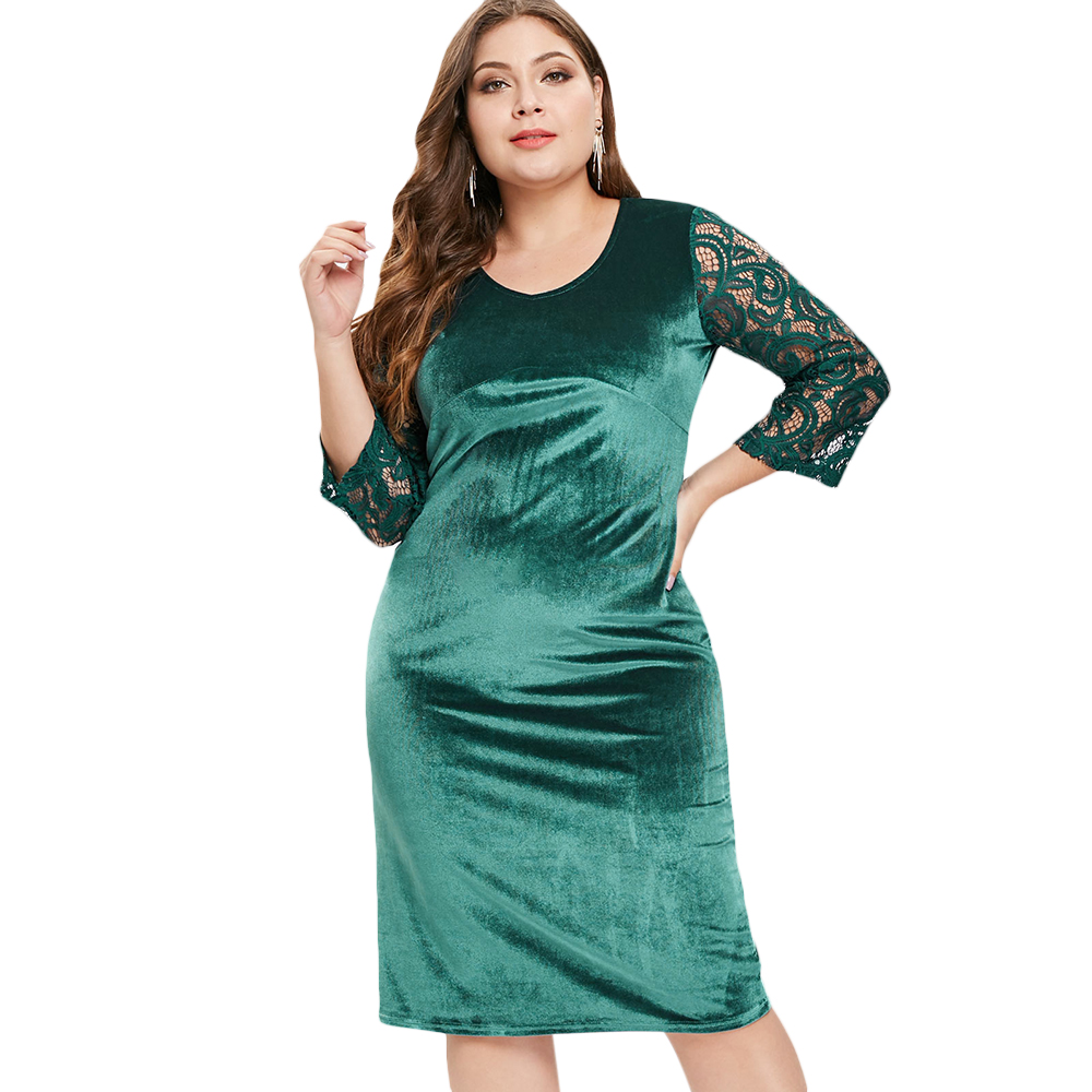 Wipalo V Neck Lace Sleeve Plus Size Knee Length Velvet Dress Knee Length  Solid Bodycon Evening Party Dress Big Size 6XL Vestidos