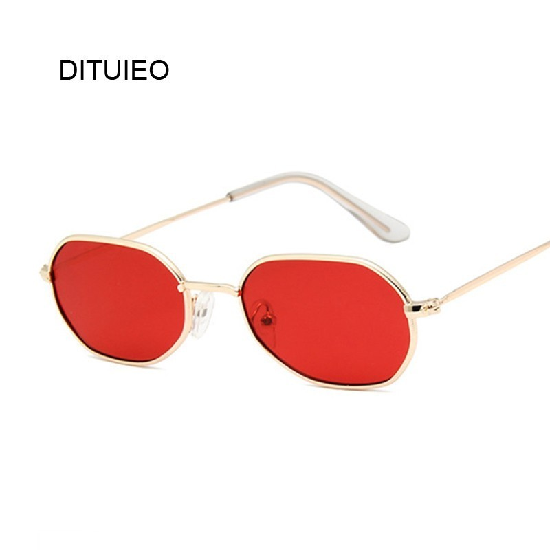 Vintage Small Octagon Sunglasses Women 2019 Ladies Fashion Shade Brand Designer Square Metal Frame Sun Glasses Red Yellow Pink