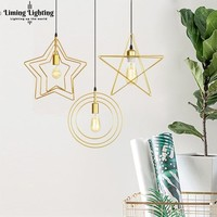 Nordic Gold Led Pendant Lights Lamp Fixtures Star Heart Ball Hanglamp For Dining Living Room Home Kitchen Decor With E27 Bulb