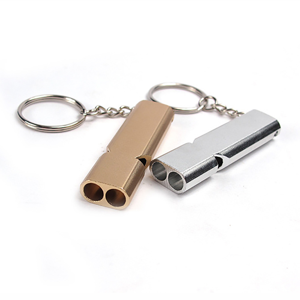 10pcs Portable Alloy Aluminum Emergency Survival High Volume Double-frequency Whistle Outdoor Camping Hiking Tool Keychain