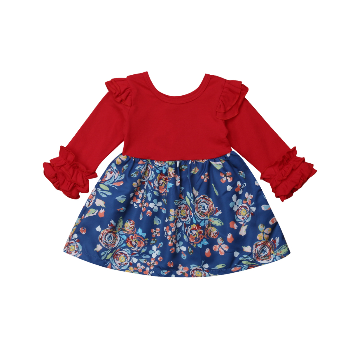 Cute Newborn Kids Baby Girls Ruffle Floral Long Sleeves Dress Party Pageant Princess Dress Clothes