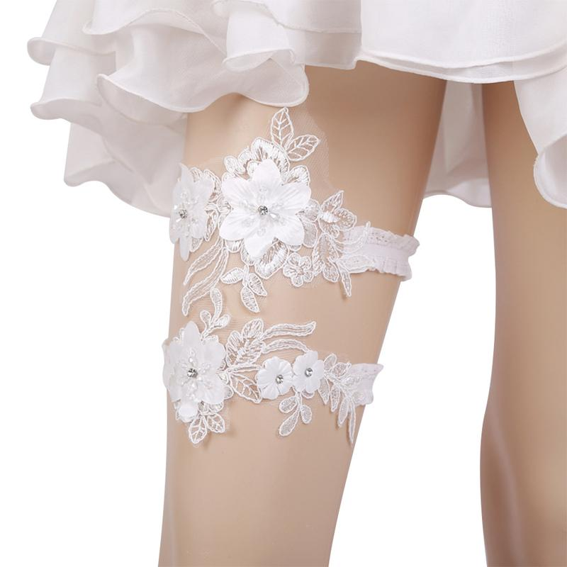Garter Set Fashion Bridal Wedding Garter Belt Rhinestone Jewelry Flower Floral White Lace Leg Cover Wedding Dress Accessories