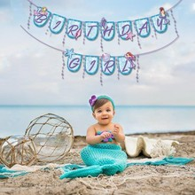 Little Mermaid Party Decoration Hanging Happy Birthday Banner For Girl Kids Theme Supplies