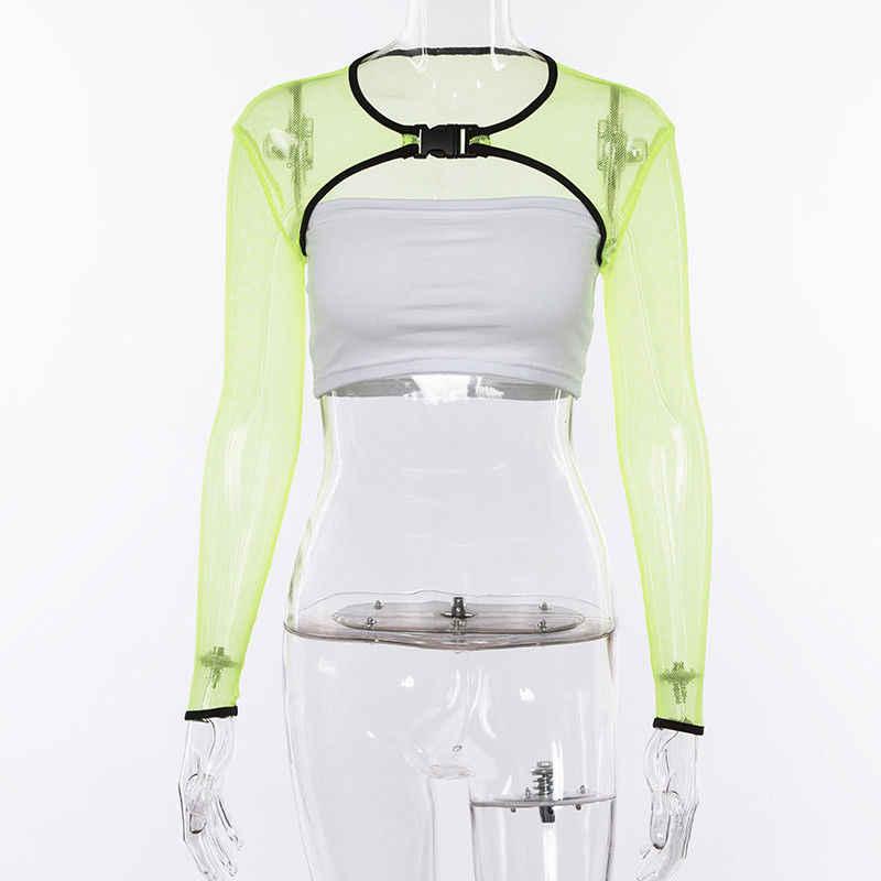 85402bc5967 ... Womens Fishnet Mesh Crop Tops Tee See Through Long Sleeve T-shirt Cover  Up Shrug ...