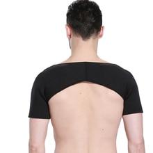 Mayitr Black Breathable Shoulder Support Basketball Arm Warmers Double Shoulder Support Brace Back Protector Shoulder Bandage