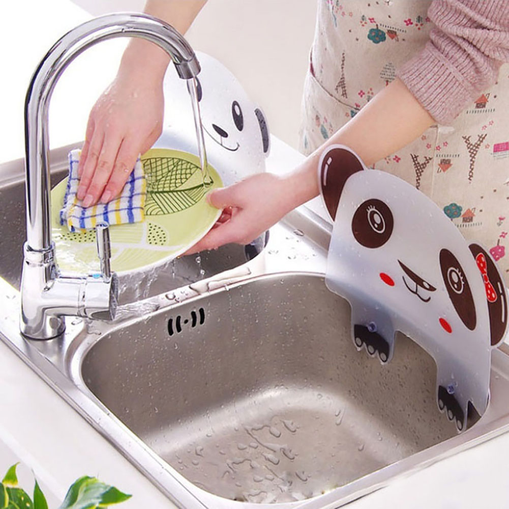 1pc Cute Panda Sucker Kitchen Sink Flap Splash Guard Baffle Wash Basin Sink Board Kitchen Tool Water Splash Sucker Sink Flaps shelf