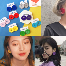 Korean style cute Circle Button stud earrings Colorful Vintage round geometry red yellow blue for women jewelry
