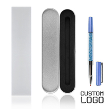 1pc Fashion Crystal Gel Pens Metal Engraved Pen Creative Signature Daily Office Student Stationery With Gift Box Custom Logo