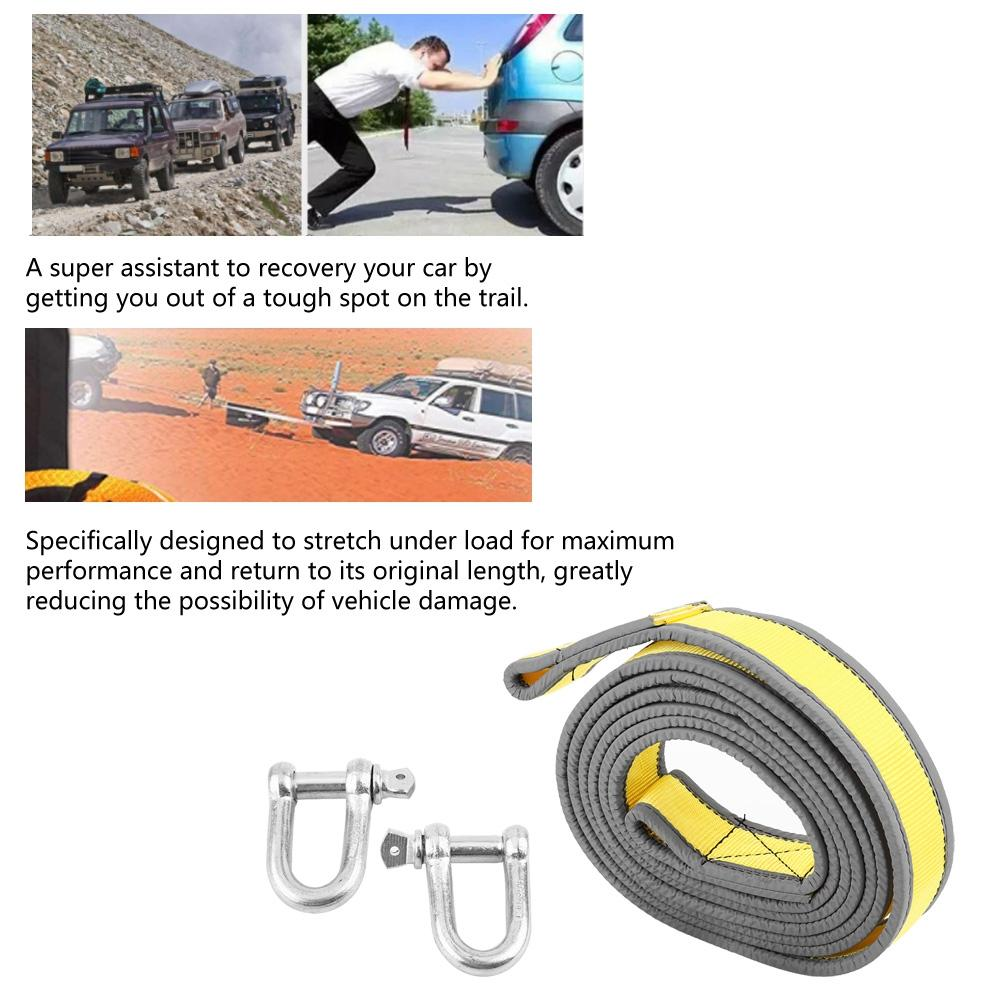 The Best Car Trailer Towing Rope Recovery Tow Strap 8 Tons 4 Meters With U-shape Hooks Light Reflection Towing Cable Tool New