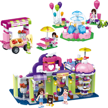 Princess Party Castle Icecream Car Building Blocks Toys Friends Toys For Children Girl Educational Gift Toys enlighten girl friends princess castle celebration building block bricks toys figure gift for children compatible legoes
