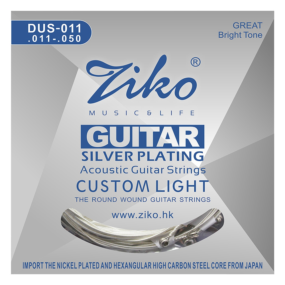 SEWS-Ziko Dus Series Acoustic Guitar Strings Hexagon Carbon Steel Core Silver Plating Wound