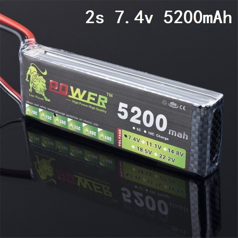 Lion Power 7.4v <font><b>5200mah</b></font> 35C <font><b>Lipo</b></font> Battery For RC Drone Helicopter Boats Airplanes <font><b>5200mah</b></font> 7.4V battery <font><b>2s</b></font> Lithium battery 1pcs image