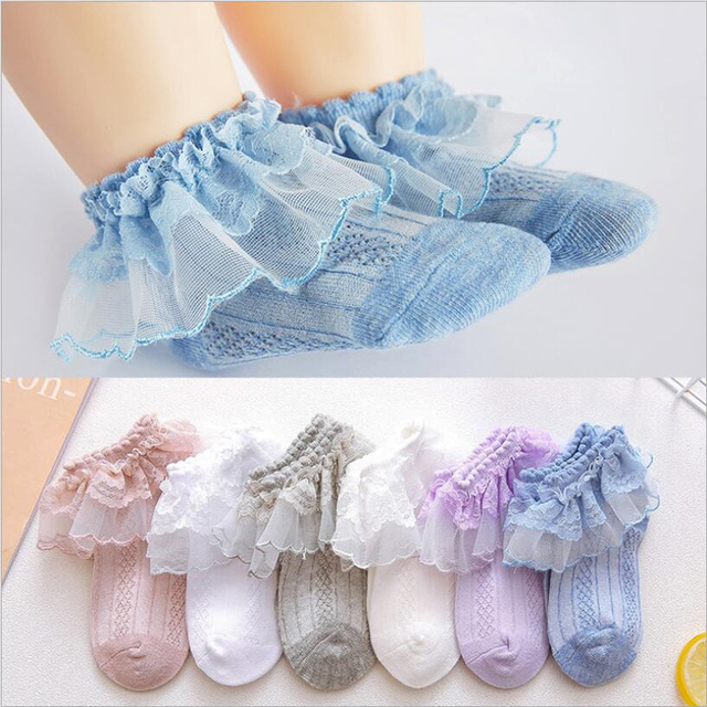 35d69c62fb4 Sweet Baby Girls Socks With Bows Toddlers Infants Cotton Ankle Socks ruffles  lace Baby Girls Princess