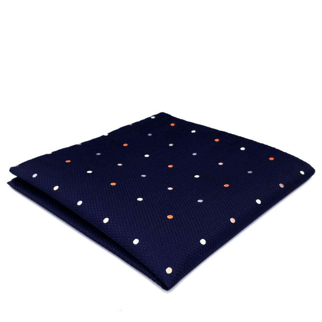 DH12 Navy Polka Dots Mens Pocket Square Silk Classic Fashion Handkerchief Groom Dress Hanky
