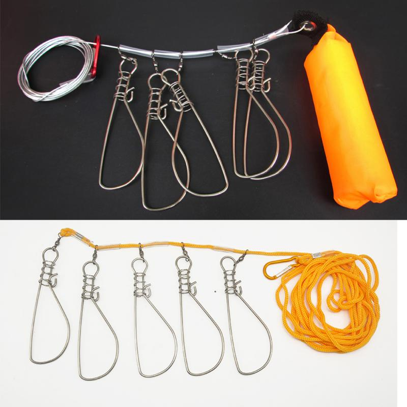 Fish Lock Stick Fishing Stringer Stainless Steel Buckle Fish 5M 4M 5 Lock Lure Tackle Tool With Float Live Fish Lock Belt