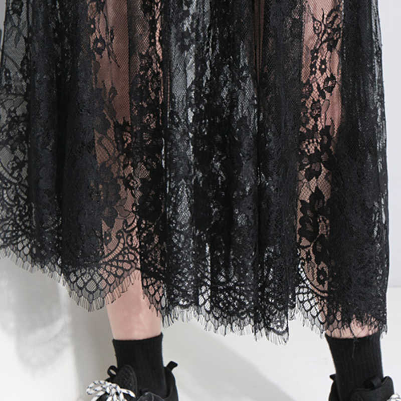 202f8702eb0af CHICEVER Patchwork Lace Dress For Women O Neck Short Sleeve Hollow Out  Irregular Hem Perspective Dresses Korean Fashion Clothing