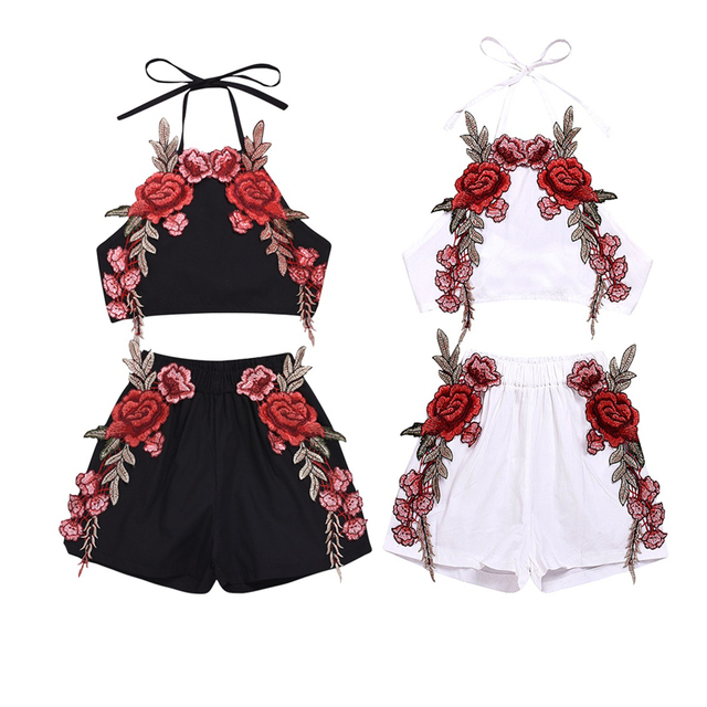 Infant Toddler Baby Girl Floral Party Summer Embroidery Clothes Sets Sleeveless Top Vest Flower Short Clothes