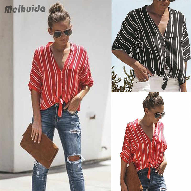 6db21515836cd6 ... Black Red Striped Blouse Womens Tops And Blouses Long Sleeves Women  Blusas Mujer De Moda 2018 ...