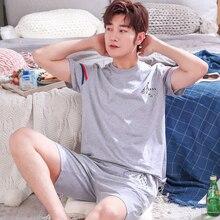 Летний Трикотажный Хлопковый пижамный комплект для мужчин, мужской пижамный комплект, пижама с буквами для мужчин, одежда для сна, домашняя одежда, размер Xxxl