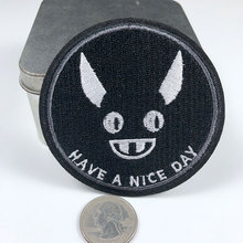 PGY Round Devil Grimace Appliques Have A Nice Day Letter Embroidery Iron On Patches for Clothing Back Rubber Diy Stickers