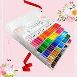 24/60/80/100 kolorów zestaw markerów 0.4mm Fineliner rysunek Marker podwójna końcówka Art Marker pędzle do akwareli pióro artykuły szkolne do plastyki