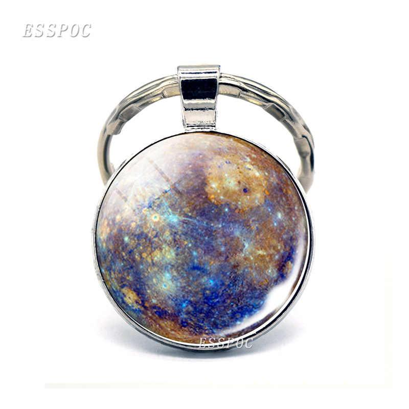 แปดดาวเคราะห์แก้ว Cabochon พวงกุญแจ Mercury ดาวศุกร์โลกดาวอังคารดาวพฤหัสบดี Saturn ดาวยูเรนัสดาวเนปจูน Key แหวนจี้ของขวัญแฟชั่น