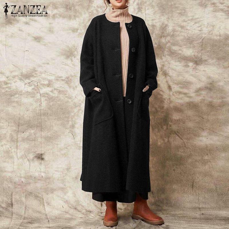Женское винтажное длинное пальто ZANZEA, на пуговицах, с длинным рукавом, большой размер, 2019