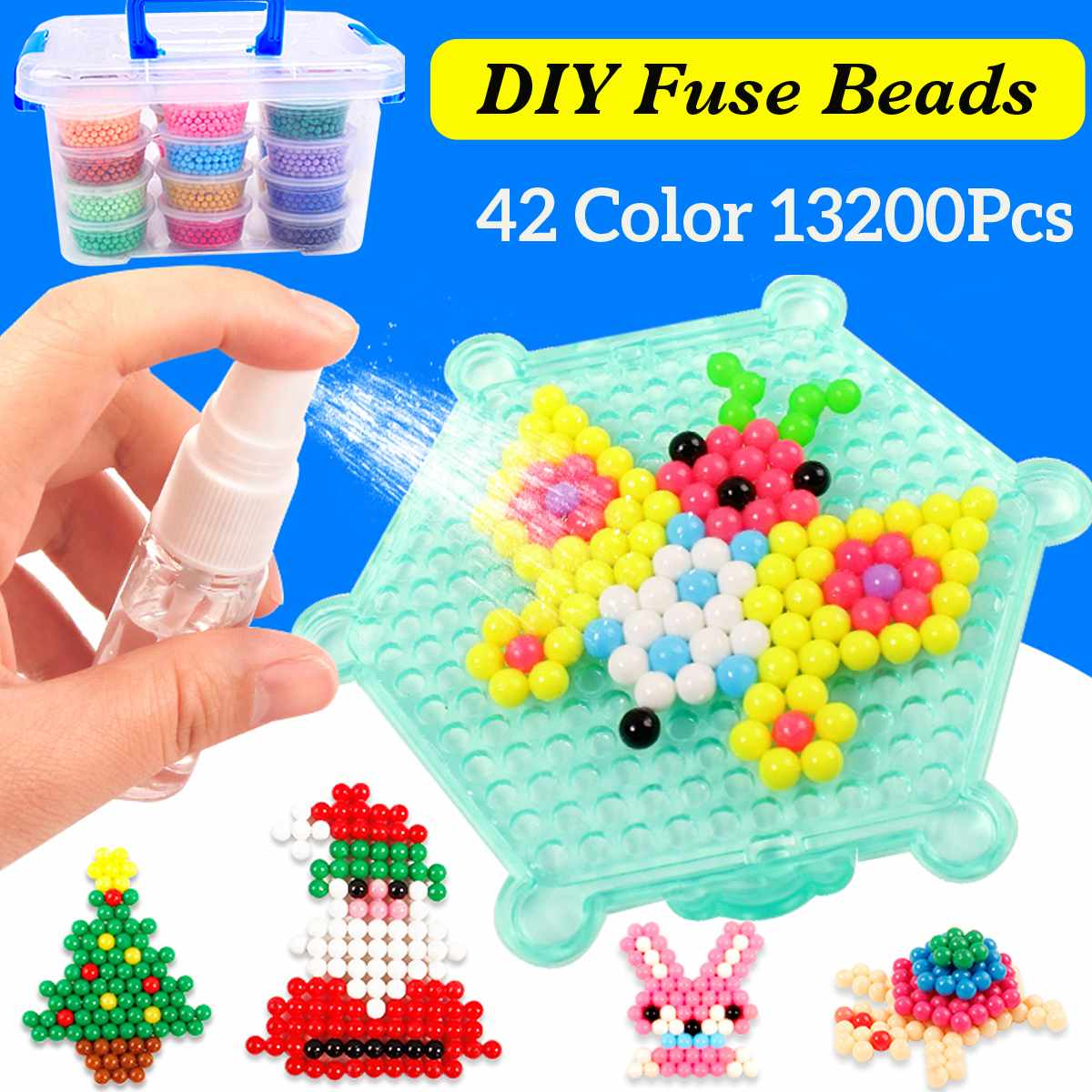 Nuovo 13200 pz 42 Colori FAI DA TE 3D Perline Fuse Perle di Acqua Nebulizzata Acqua Magica Di Puzzle Puzzle di Puzzle Regali Di Natale per giocattolo per bambini