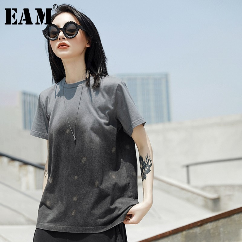 [EAM] 2020 New Spring Summer Round Neck Short Sleeve Gray Gradient Color Pattern Printed Loose T-shirt Women Fashion Tide JT527