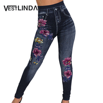 VESTLINDA Women Denim Skinny Jeggings Pants High Waist Stretch Jeans Slim Pencil Trousers Wash Skinny Jeans Flower Print Pants фото