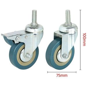 Image 4 - Rotatable castors made of heavy steel and PVC 75mm casters with brake casters for furniture, set of 4 (support wholesale discoun