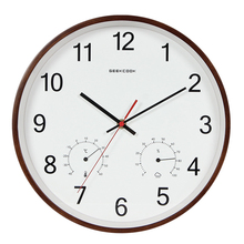 Geekcook 12 Inch Classic Wall Clocks Silent Quartz Thermometer Hygrometer Humidity Non Ticking For Room Office drop shipping
