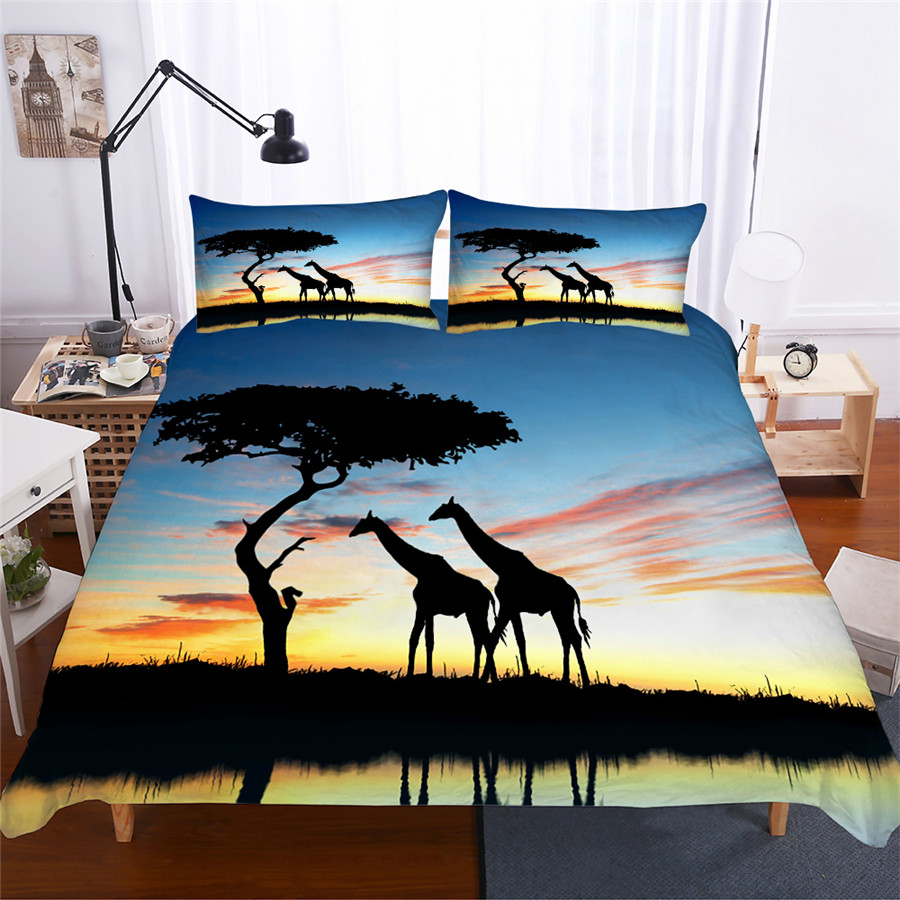 Bedding Set 3D Printed Duvet Cover Bed Set Giraffe Home Textiles for Adults Lifelike Bedclothes with Pillowcase #CJL05-in Bedding Sets from Home & Garden