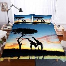Juego de ropa de cama 3D impreso edredón juego de cama jirafa Textiles para el hogar para adultos ropa de cama realista con funda de almohada # CJL05