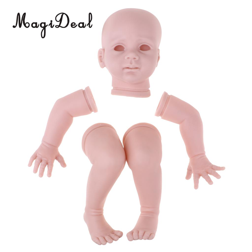 24inch Unpainted Reborn Kits Awake Baby Doll with Soft Silicone Head 3 4 Arms Full Legs