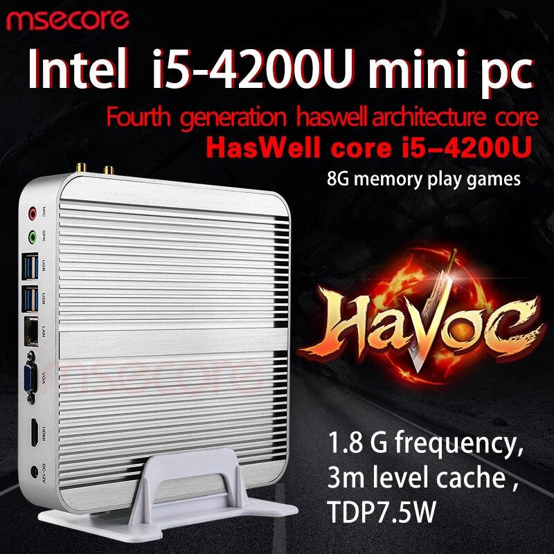 Мини-ПК без вентилятора MSECORE, Intel I5 4200U, Windows 10 NUC HTPC, неттоп, система barebone, linux, настольный компьютер HD4400, 300 м, Wi-Fi