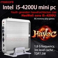 MSECORE Intel I5 4200U Fanless Mini PC Windows 10 NUC HTPC Nettop barebone system linux game Desktop Computer HD4400 300M WiFi