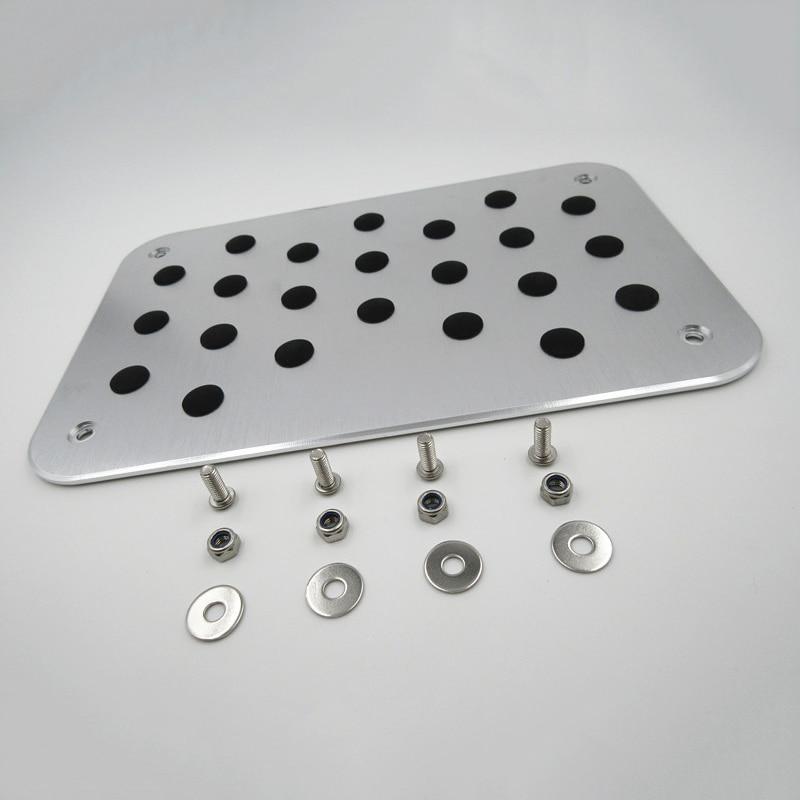 Uniwersalny stop aluminium samochód mata podłogowa dywan gruby obcas płyta pedał 300*200*4mm srebrny wysokiej jakości dywan płyta akcesoria