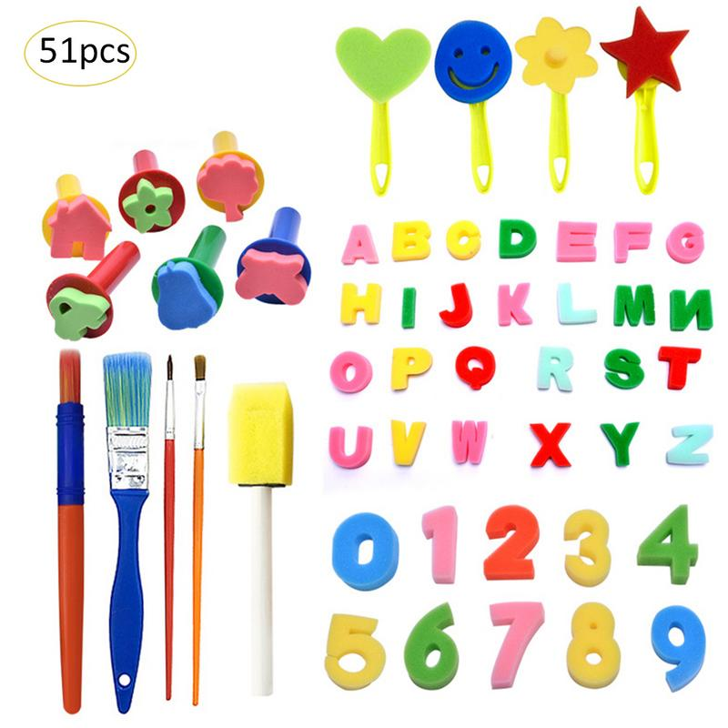 51PcsSponge Paint SpongeToys StampSponge Brushes Kids Children Drawing Painting Graffiti Tools  DIY Art Supplies