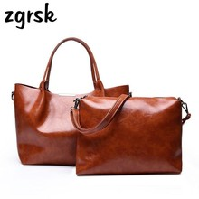 2 Pcs/set Women Luxury Handbags Bags Messenger Oil Wax PU Leather Crossbody For Designer Shoulder