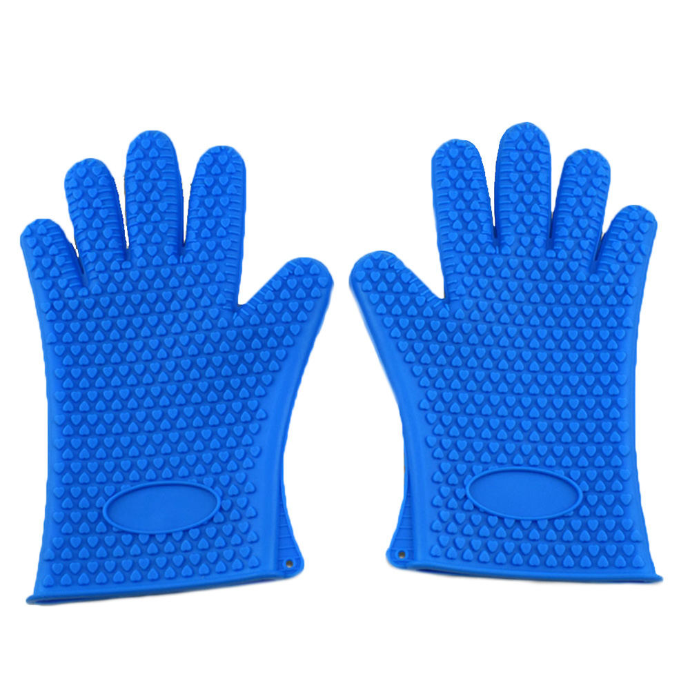 1Pair Kitchen Silicone Oven Mitts Barbecue Oven Glove Cooking BBQ Grill Glove Oven Mitt Baking Glove For Kitchen
