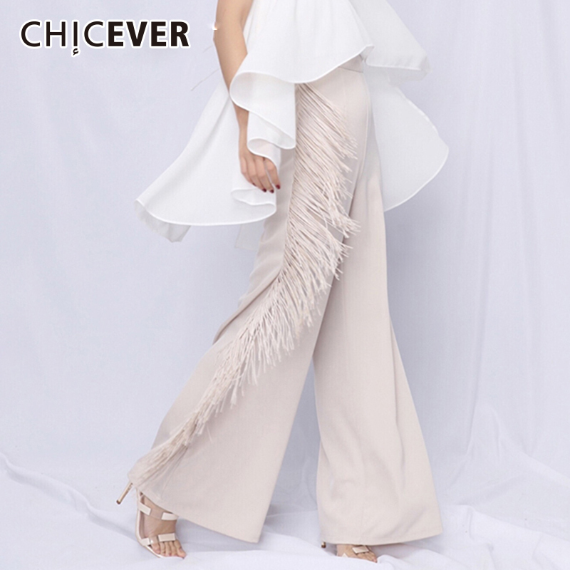 CHICEVER Tassel Pants For Women Patchwork High Waist Big Size Summer Maxi Wide Leg Pants 2019
